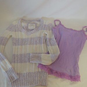 Justice girls sweater & cami size 8
